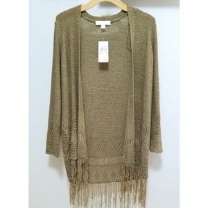 Michael Kors Green Knit Fringe Long Sweater Duster